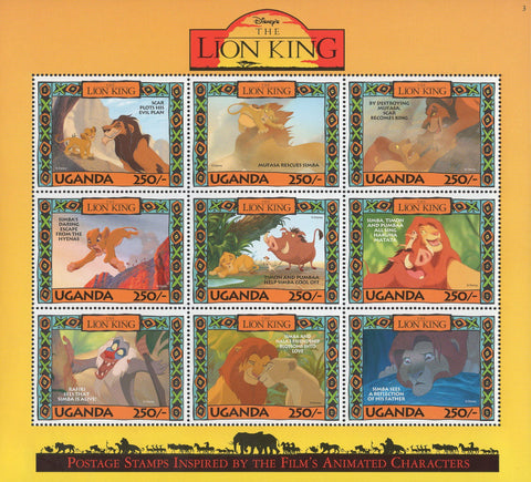 Uganda Disney Lion King Characters Souvenir Sheet of 9 Stamps Mint NH