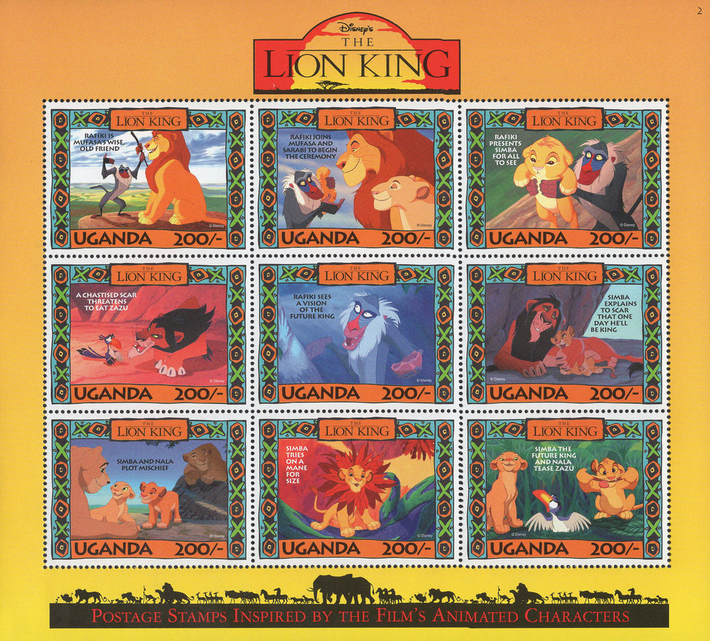 Disney Stamp Lion King Characters Souvenir Sheet of 9 Stamps MNH