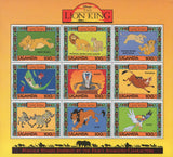 Uganda Lion King Film Characters Souvenir Sheet of 9 Stamps Mint NH MNH