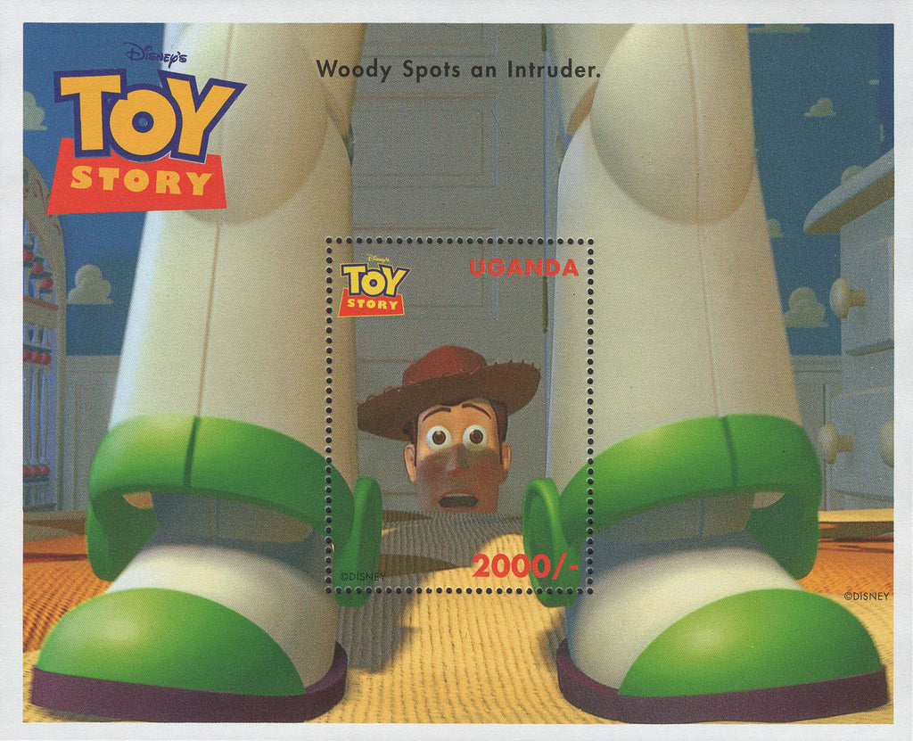 Uganda Disney Toy Story Woody Spots An Intruder Souvenir Sheet MNH