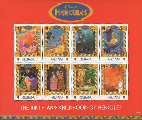 Grenada The Birth And Childhood of Hercules Souvenir Sheet of 8 Stamps MNH