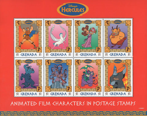 Grenada Animated Film Character Hercules Souvenir Sheet of 8 Stamps Mint NH