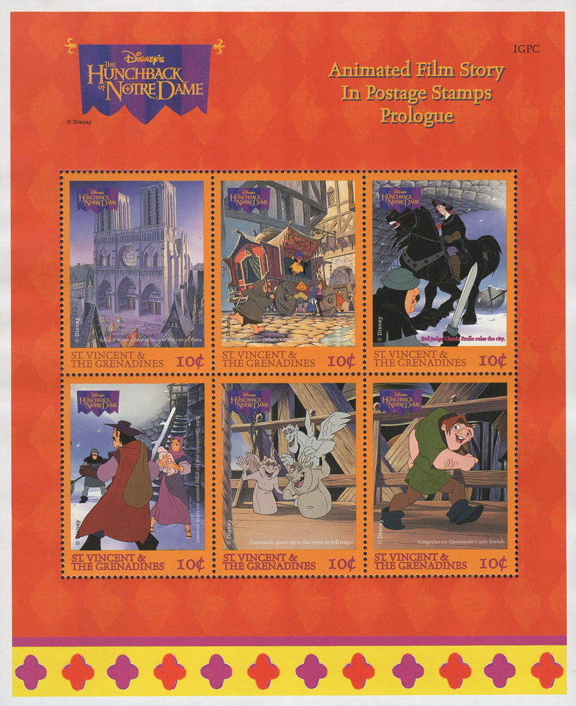 St. Vincent Disney Hunchback Of Notre Dame Souvenir Sheet of 6 Stamps MNH