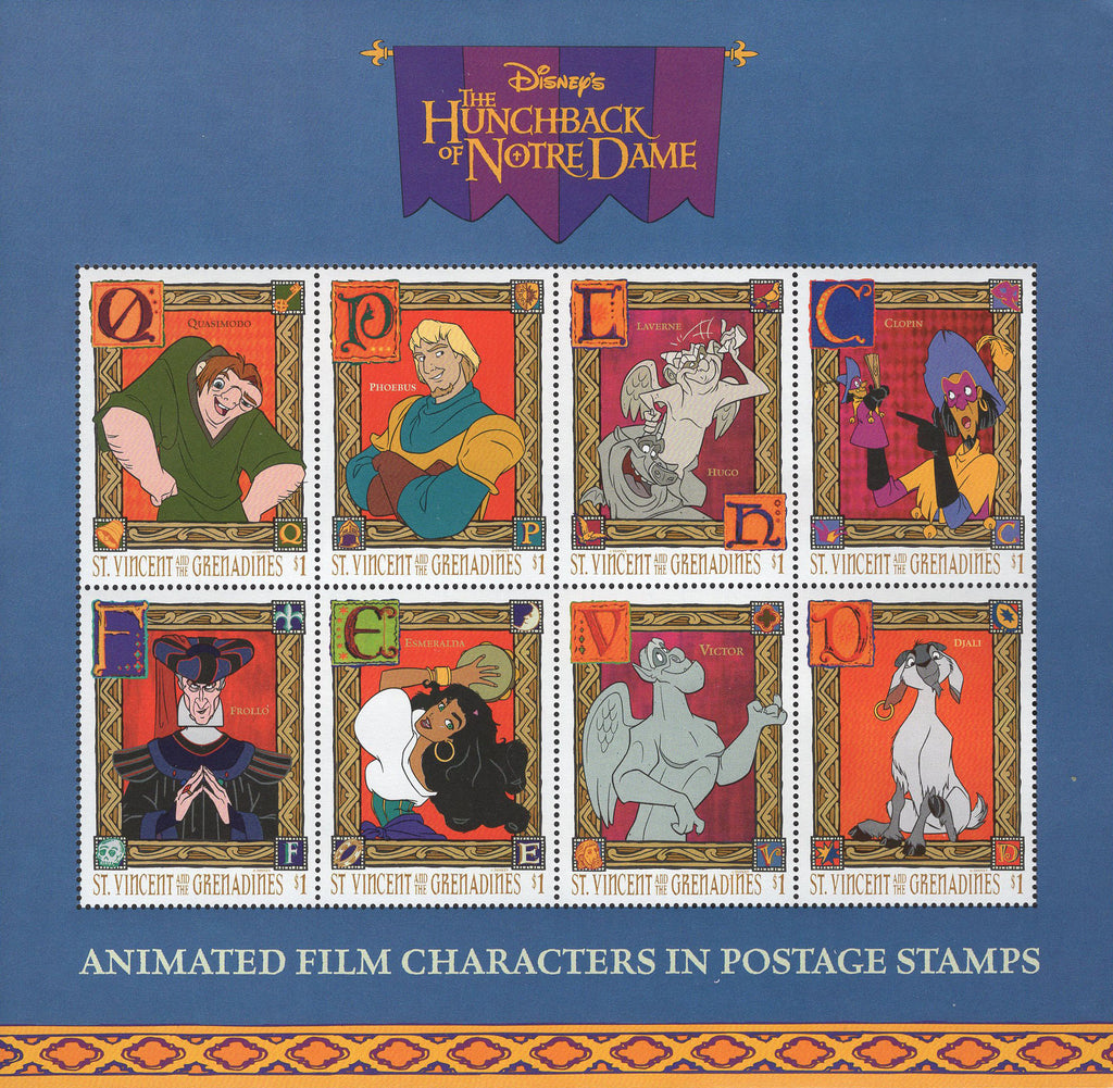 St. Vincent Disney Hunchback Of Notre Dame Characters Sov. Sheet of 8 Stamps MNH