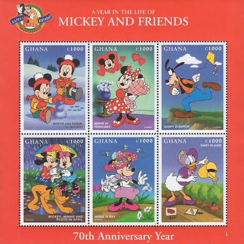 Ghana A Year In The Life Of Mickey And Friends Souvenir Sheet of 6 Stamps MNH