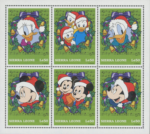 Sierra Leone Donald Duck Mickey Santa Claus Holidays Christmas Souv of 6 MNH