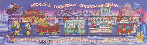 Grenada Mickey's Toontown Christmas Train Mickey Donald Souv of 5 MNH