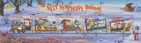 Grenada Silly Symphony Railroad Santa Christmas Souv of 5 MNH