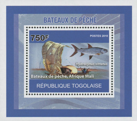 Fishing Boats Hydrocynus Vittatus African Tiger Fish Mini Sov. Sheet MNH