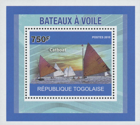 Togo Fishing Boats Catboat 2010 Miniature Souvenir Sheet Mint NH