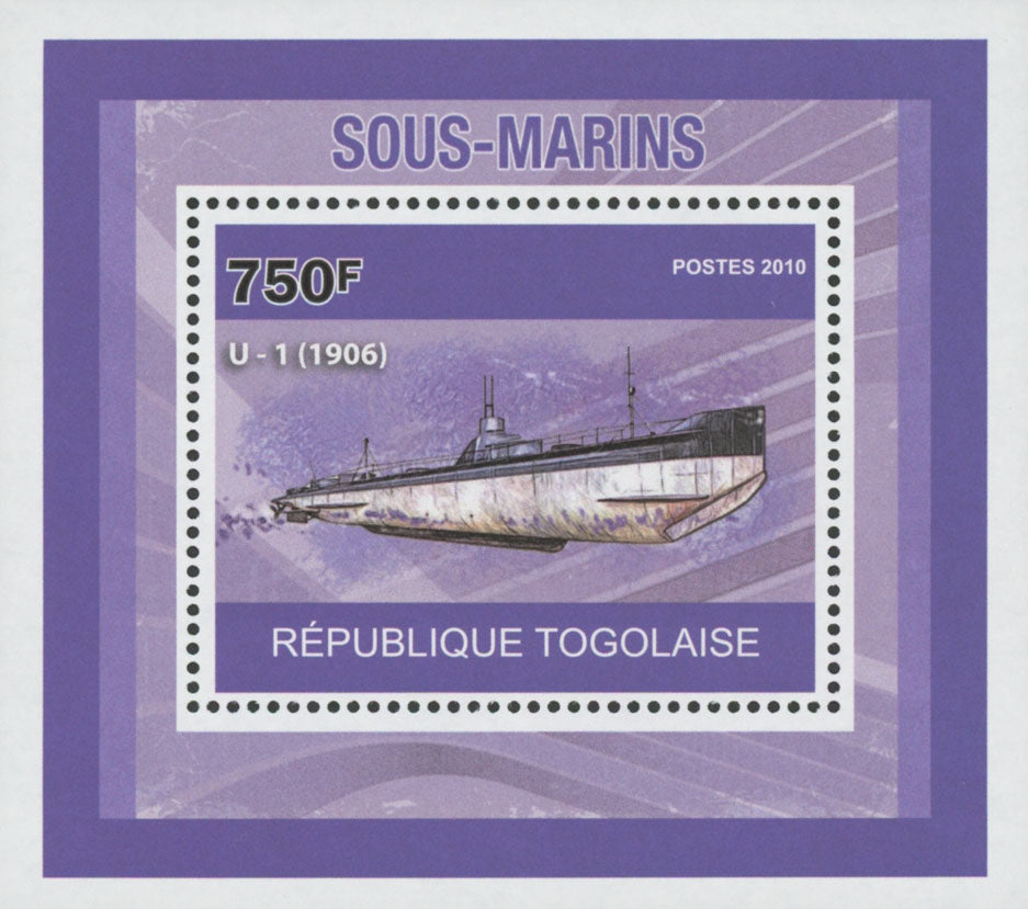 Submarines U-1 1906 Miniature Souvenir Sheet Stamp Mint NH