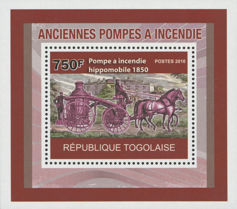 Old Fire Pumps Horsedrawn 1850 Miniature Souvenir Sheet MNH