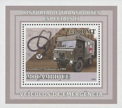 Special Transport History Emergency Land Rover Ambulance Mini Sov. Sheet Stamp MNH