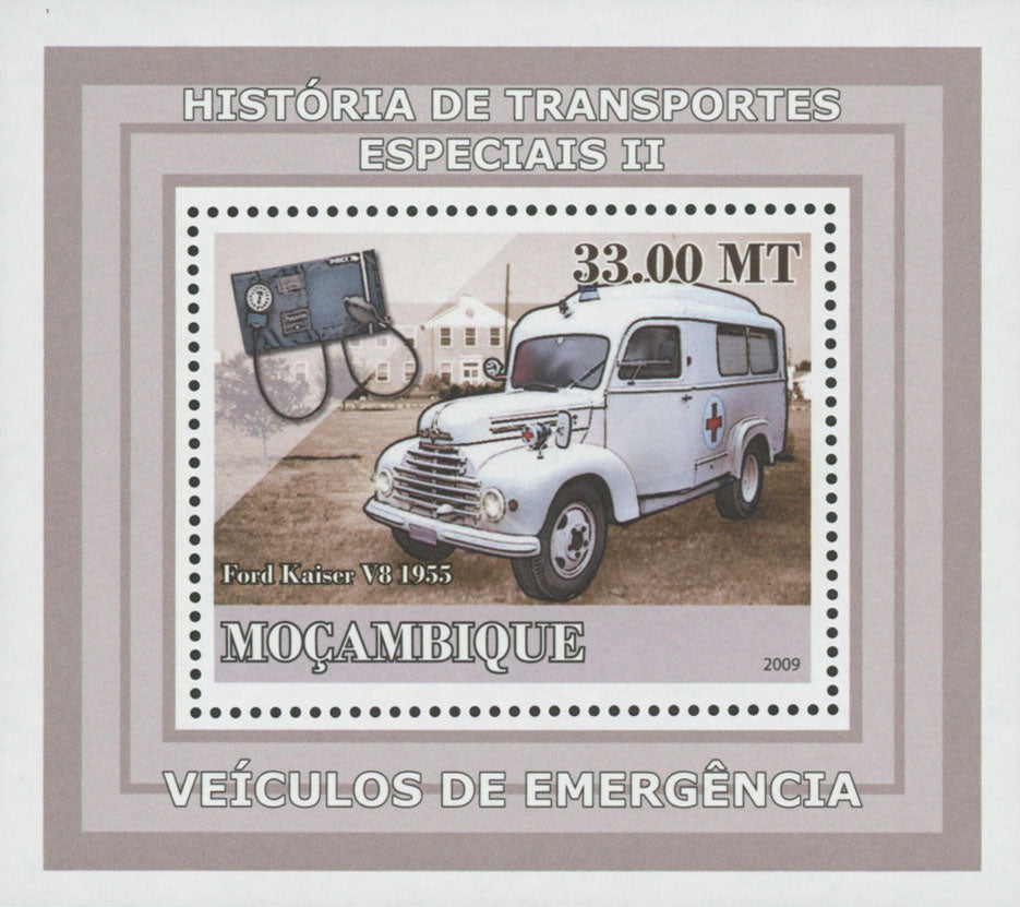 Special Transport Emergency Ford Kaiser Ambulance Mini Sov. Sheet MNH