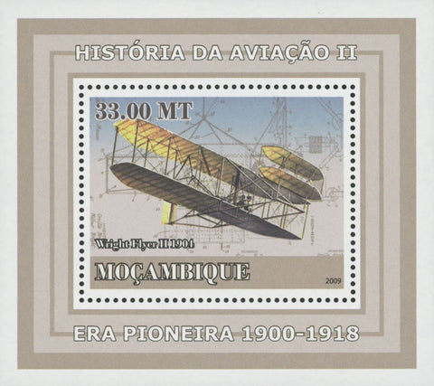 Mozambique Aviation History Wright Flyer Pioneer Mini Souvenir Sheet Mint NH