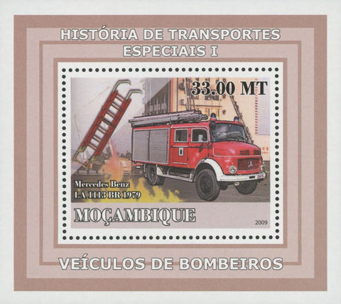 Special Transport History Firefighters Mercedes Benz Mini Sov. Sheet MNH