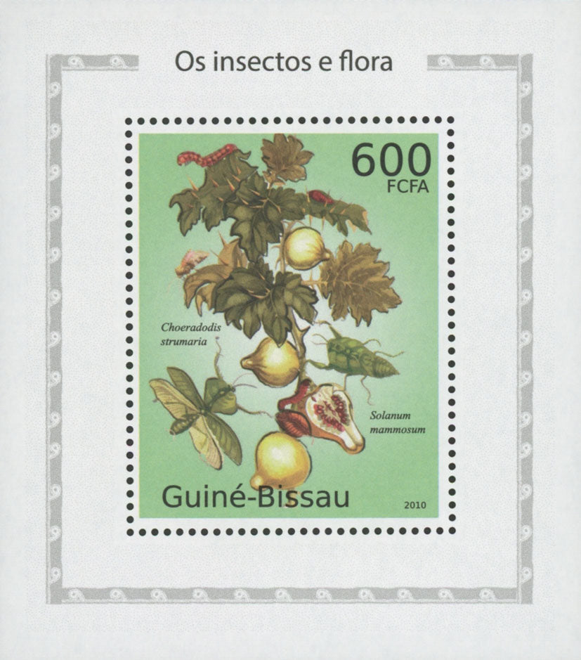 Insects And Flora Solanum Mammosum Mini Sov. Sheet MNH