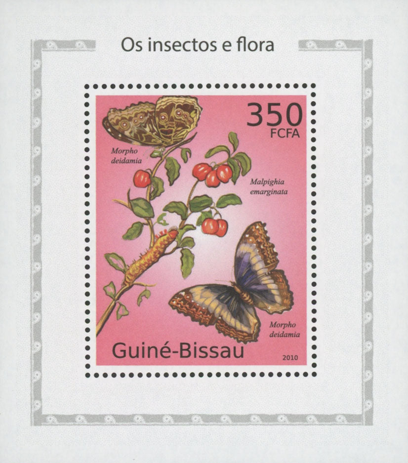 Insects And Flora Morpho Deidamia Butterfly Mini Sov. Sheet MNH