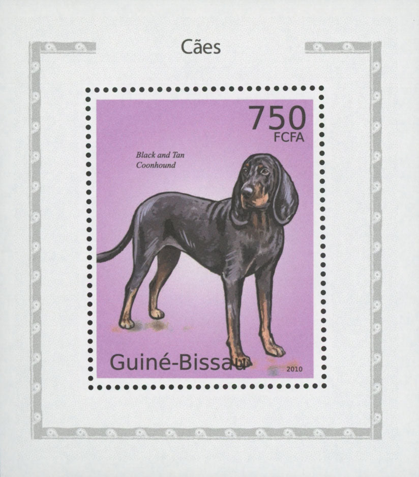 Dog Stamp Black and Tan Coonhound Mini Sov. Sheet Stamp Mint NH