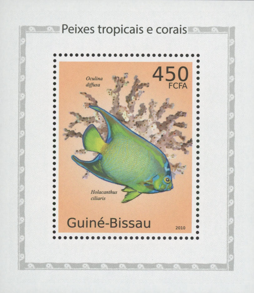 Tropical Fish Stamp And Corals Queen Angelfish Mini Sov. Sheet MNH