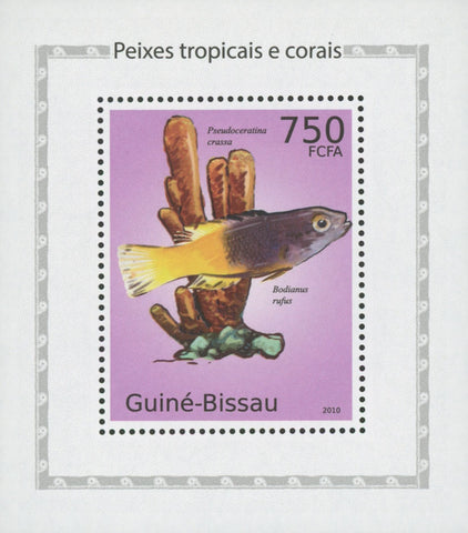 Tropical Fish And Corals Spanish Hogfish Mini Sov. Sheet MNH