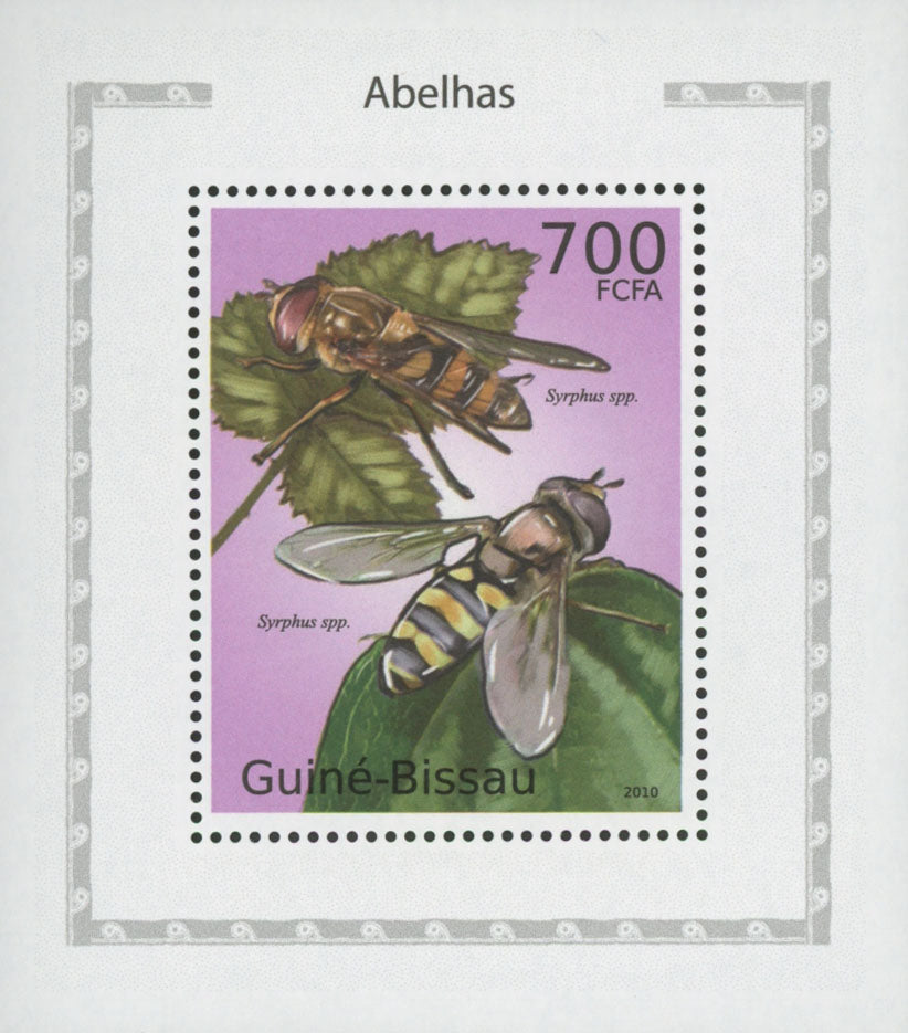 Bees Syrphus Stamp Insect Mini Souvenir Sheet MNH