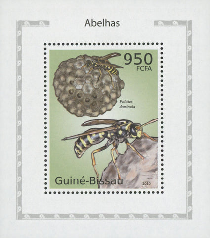 Bees Stamp Insect Polistes Dominula Miniature Souvenir Sheet MNH