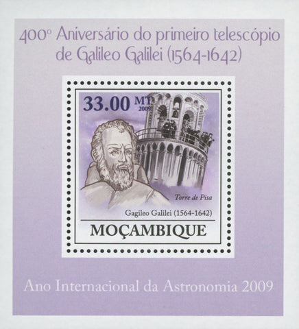 Mozambique Galileo Galilei Astronomy Pisa Tower Mini Sov. Sheet MNH