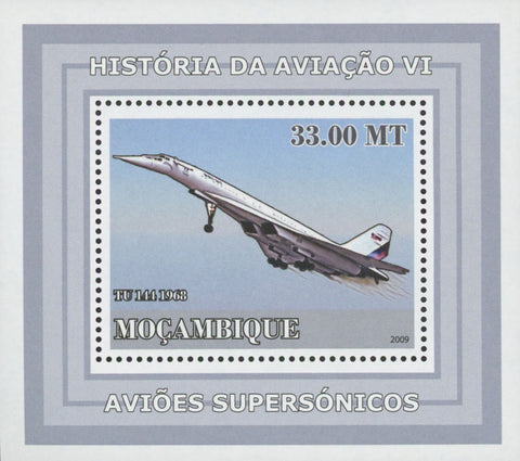 Mozambique Supersonic Planes TU 144 Mini Sov. Sheet MNH