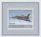 Mozambique Supersonic Planes F16 XL 2003 Mini Sov. Sheet MNH