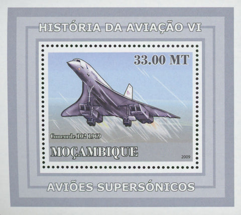 Mozambique Supersonic Planes Concorde 102 Mini Sov. Sheet MNH