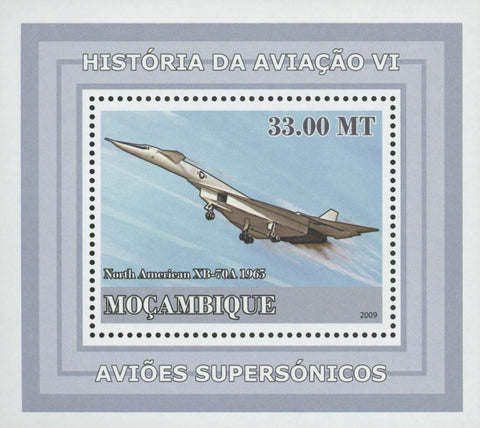 Mozambique Supersonic Planes North American XB-70A Mini Sov. Sheet MNH