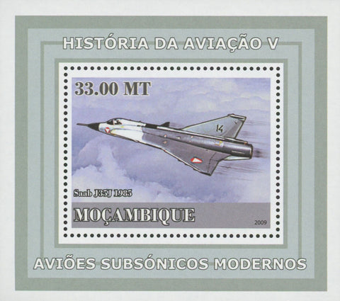 Mozambique Supersonic Planes Saab J35J Mini Sov. Sheet MNH
