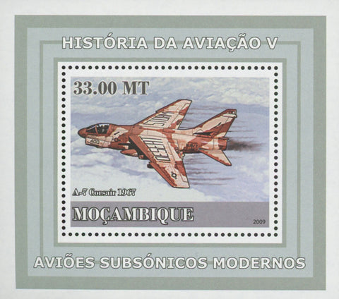 Mozambique Supersonic Planes A-7 Corsair Mini Sov. Sheet MNH