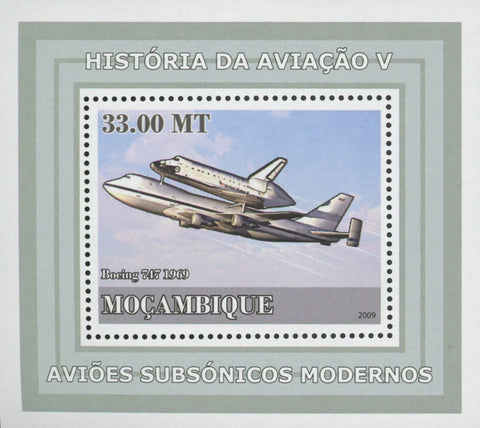 Mozambique Supersonic Planes Boeing 747 Mini Sov. Sheet MNH