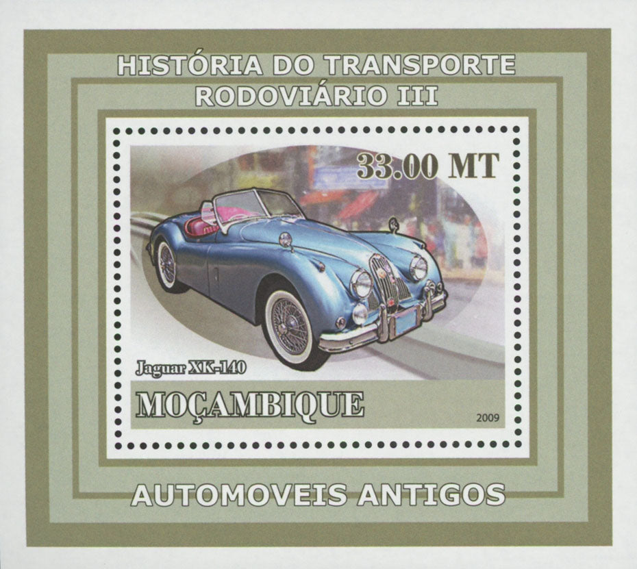 Road Transport Antique Cars Jaguar Mini Sov. Sheet MNH