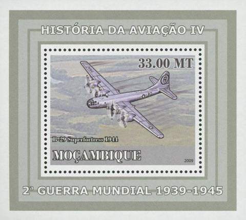 Mozambique Aviation World War II B-29 Superfortress Mini Sov. Sheet MNH
