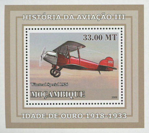 Mozambique Aviation Golden Age Winstead Special Mini Sov. Sheet MNH
