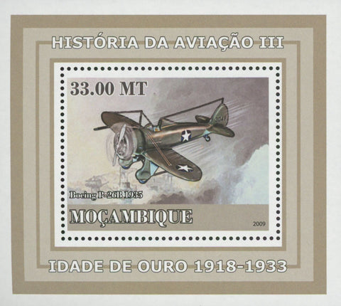 Mozambique Aviation Golden Age Boeing P-26B Mini Sov. Sheet MNH