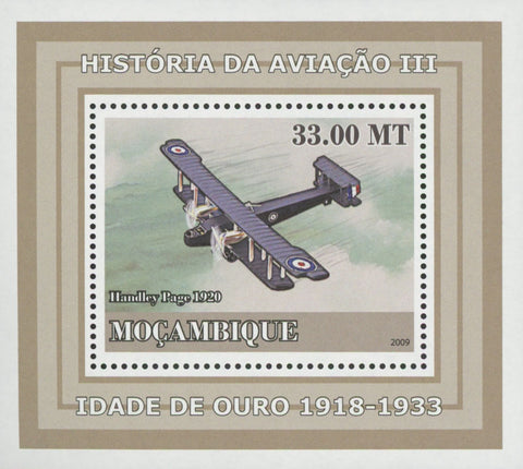 Mozambique Aviation Golden Age Handley Page Mini Sov. Sheet MNH