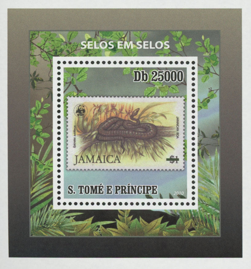 Stamp in Stamp Jamaica Snake Mini Sov. Sheet MNH