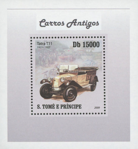 Antique Cars Tatra T11 Mini Sov. Sheet MNH