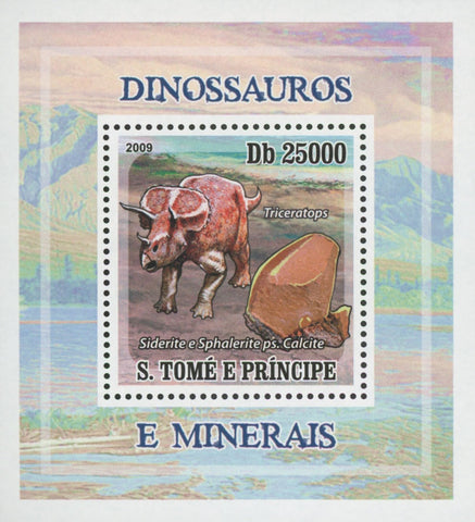 Dinosaur and Minerals Siderite Mini Sov. Sheet MNH