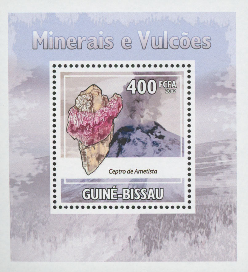 Minerals and Volcano Stamp Amethyst Mini Sov. Sheet MNH