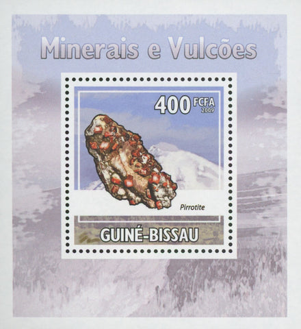 Minerals and Volcanos Stamp Pirrotite Stone Mini Sov. Sheet MNH