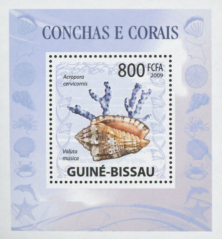 Guiné-Bissau Shells and Corals Voluta Musica Miniature Sov. Sheet MNH