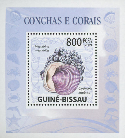Guiné-Bissau Shells and Corals Meandrina Meandrites Mini Sov. Sheet MNH