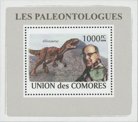 Paleontologists Dinosaur Edwin H. Colbert Mini Sov. Sheet MNH