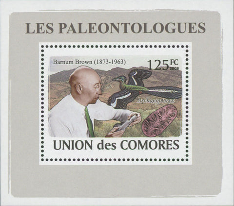 Paleontologists Dinosaur Barmum Brown Mini Sov. Sheet MNH