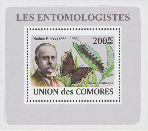 Entomologist  Nathan Banks Butterfly Mini Sov. Sheet MNH